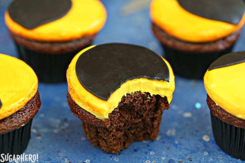 Eclipse Cupcakes with a bite taken out of it | From SugarHero.com