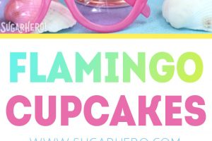 Flamingo cupcakes photo collage with text for Pinterest