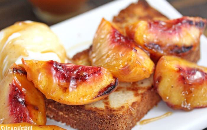 Grilled Pound Cake and Peaches   From SugarHero.com
