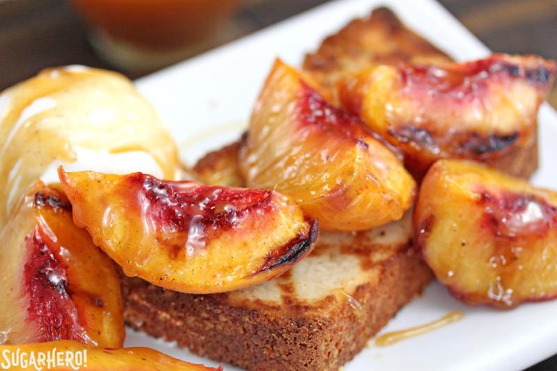 Grilled Pound Cake and Peaches - SugarHero