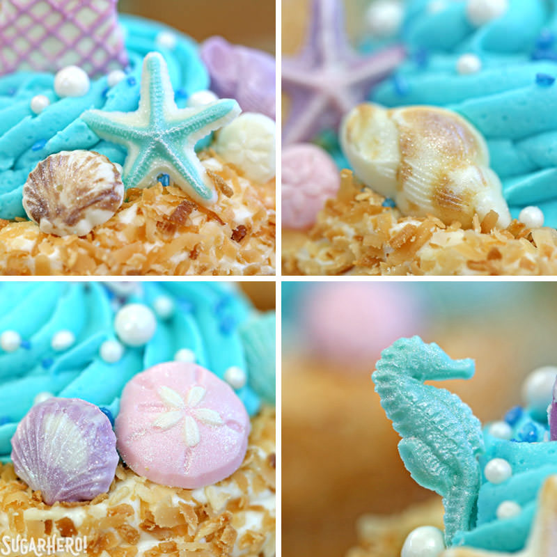 Close-up of chocolate seashell details on Mermaid Cupcakes | From SugarHero.com