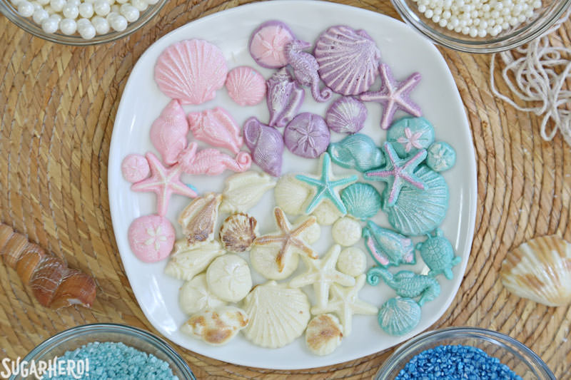 Chocolate seashells for mermaid cupcakes | From SugarHero.com