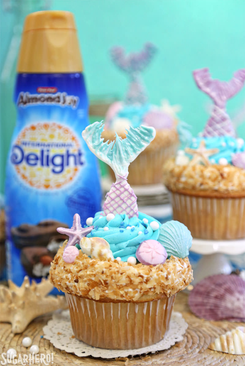 Mermaid Cupcakes - under-the-sea cupcakes with International Delight coffee creamer | From SugarHero.com