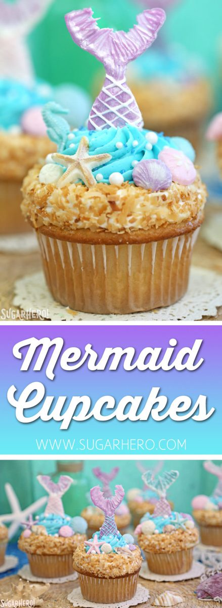 Mermaid Cupcakes - gorgeous under-the-sea cupcakes with mermaid tails and chocolate seashells!   From SugarHero.com
