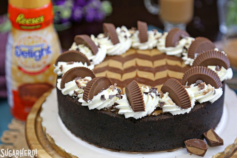 Chocolate Peanut Butter Cheesecake - whole cheesecake with peanut butter cup creamer in background | From SugarHero.com