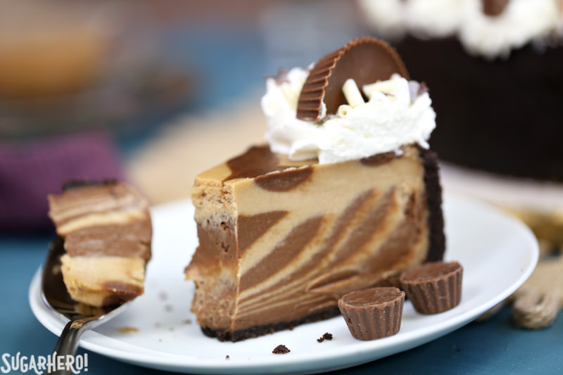 Chocolate Peanut Butter Cheesecake single slice with a bite taken out | From SugarHero.com