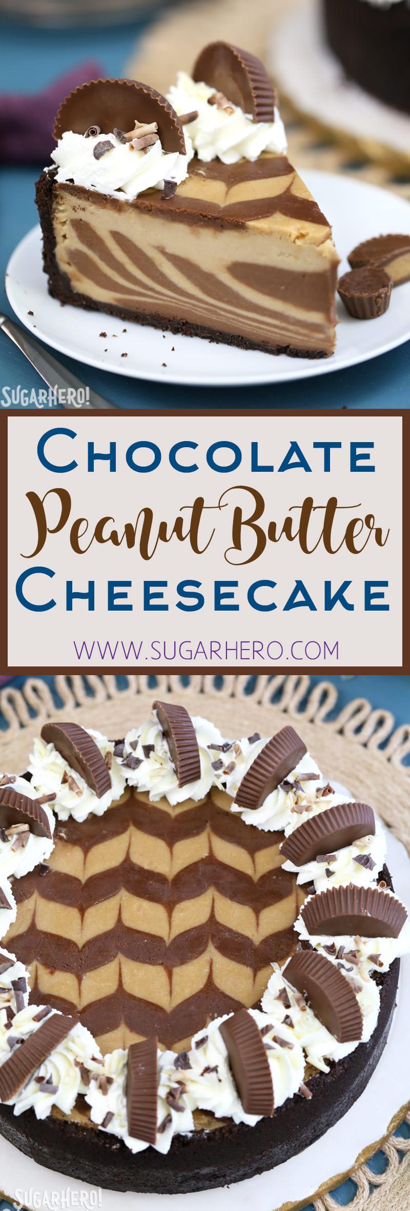 Chocolate Peanut Butter Cheesecake | From SugarHero.com