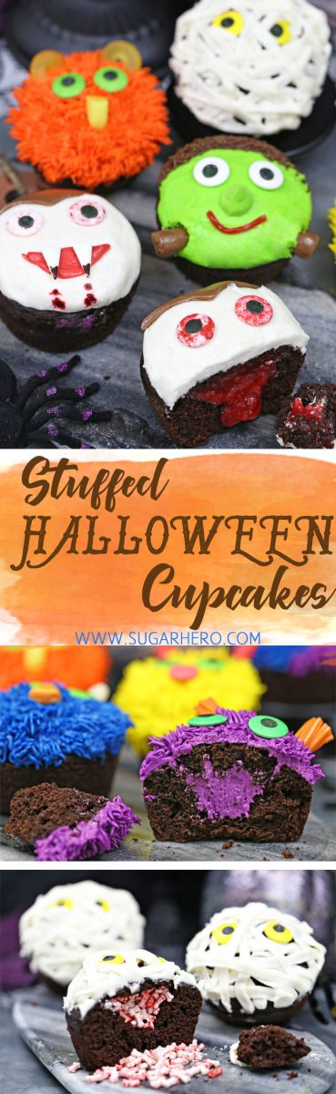 Stuffed Halloween Cupcakes - just like your favorite cream-filled cupcakes, only decorated with cute (and EASY) Halloween designs!   From SugarHero.com