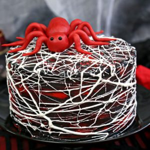 Red Velvet Marshmallow Spiderweb Cake | From SugarHero.com