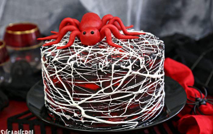 Red Velvet Marshmallow Spiderweb Cake | From SugarHero.com