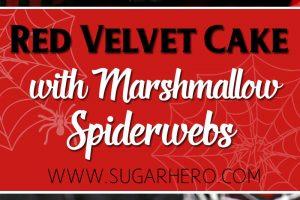 Red Velvet Marshmallow Spiderweb Cake—classic red velvet cake with black chocolate buttercream, covered with a web of marshmallow spiderwebs! | From SugarHero.com