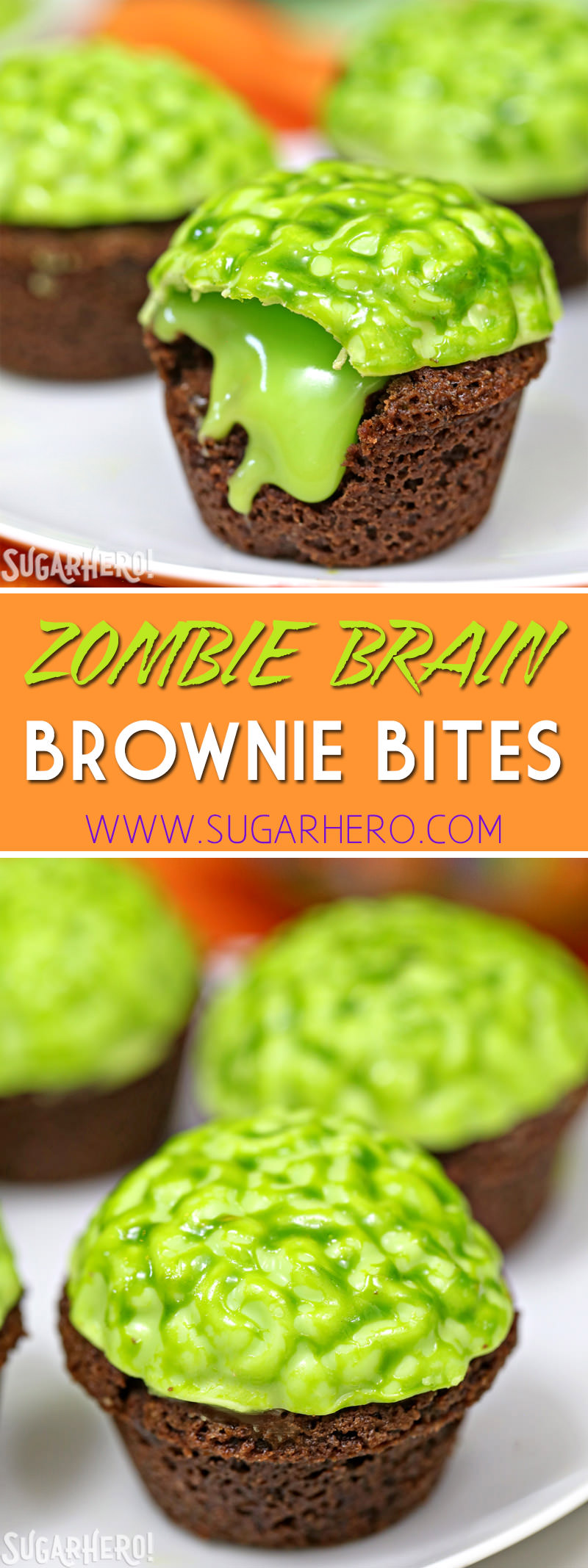 Zombie Brain Brownie Bites - SugarHero
