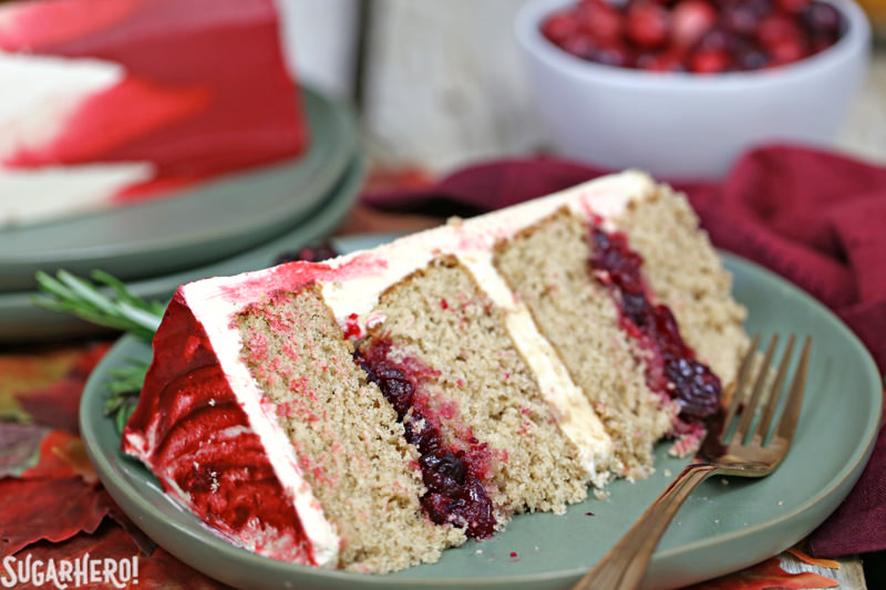 Brown Sugar Cranberry Cake - close-up on single slice of brown sugar cranberry cake | From SugarHero.com