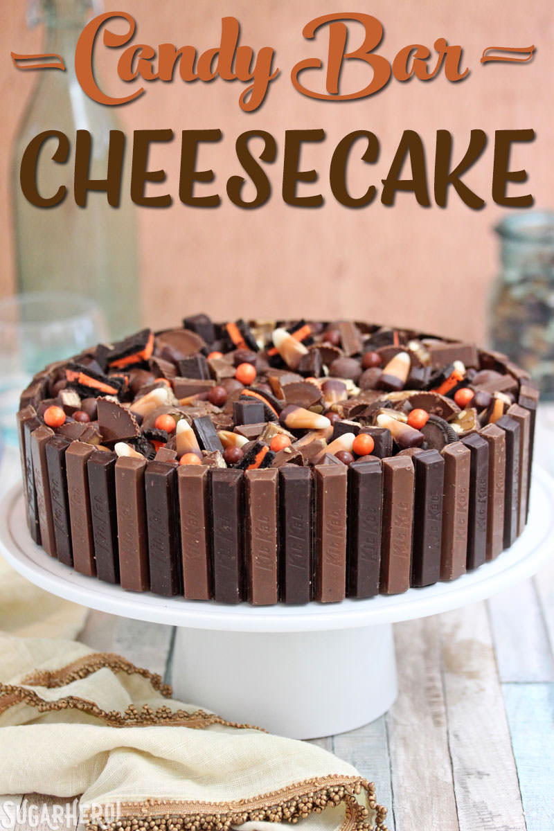 Candy Bar Cheesecake – a chocolate-vanilla cheesecake topped with leftover candy | From SugarHero.com