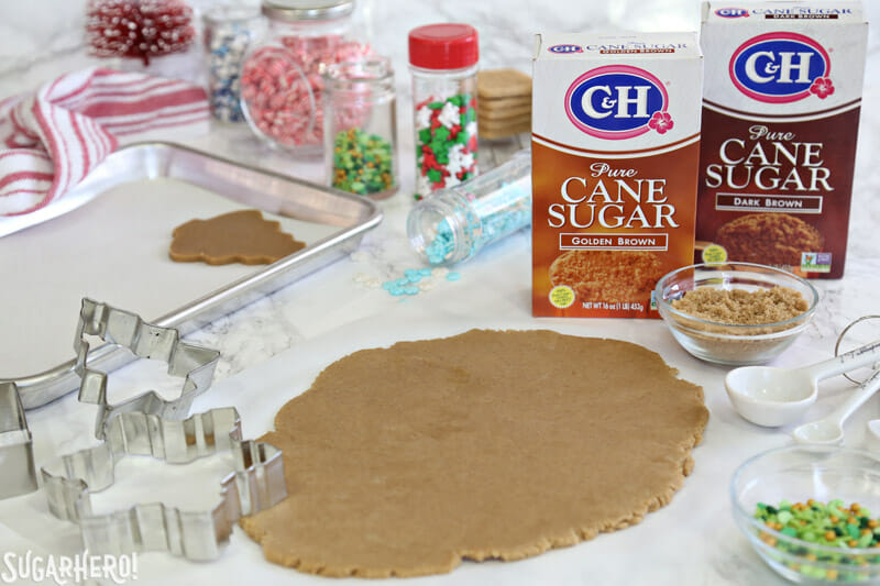 Christmas Present Cookie Boxes - brown sugar cookie dough rolled out and ready to be cut | From SugarHero.com