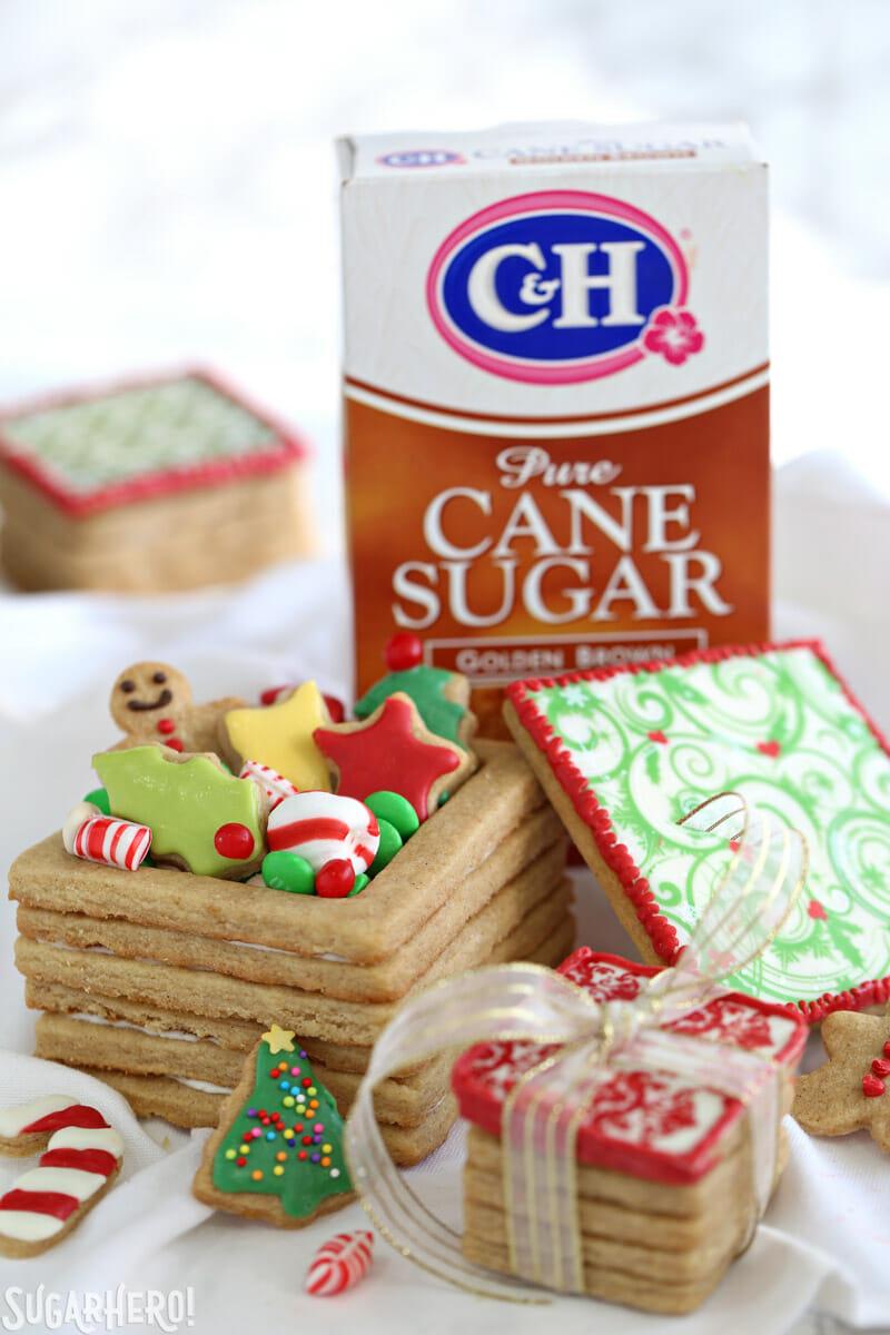 Christmas Present Cookie Boxes - brown sugar cookie boxes with box of brown sugar behind | From SugarHero.com
