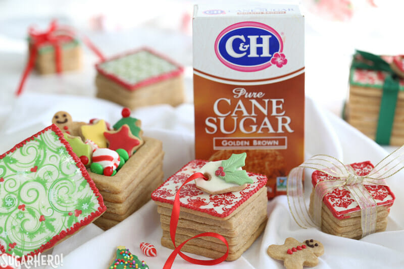 christmas present cookie boxes picture of boxes with ch sugar in background from sugarhero