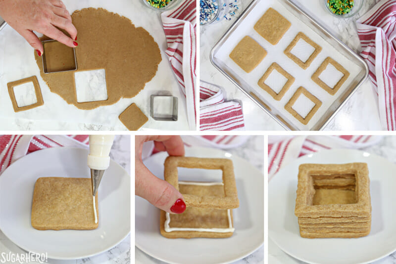 Christmas Present Cookie Boxes - tutorial showing how to assemble cookie boxes | From SugarHero.com
