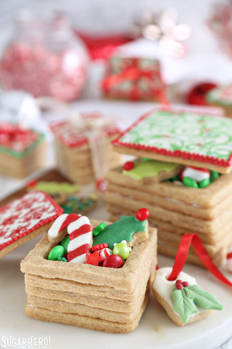 christmas present cookie boxes cookie box with treats inside and top leaning on the side