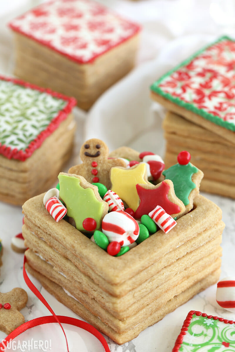 Christmas Present Cookie Boxes - close-up of cookie box with treats inside | From SugarHero.com