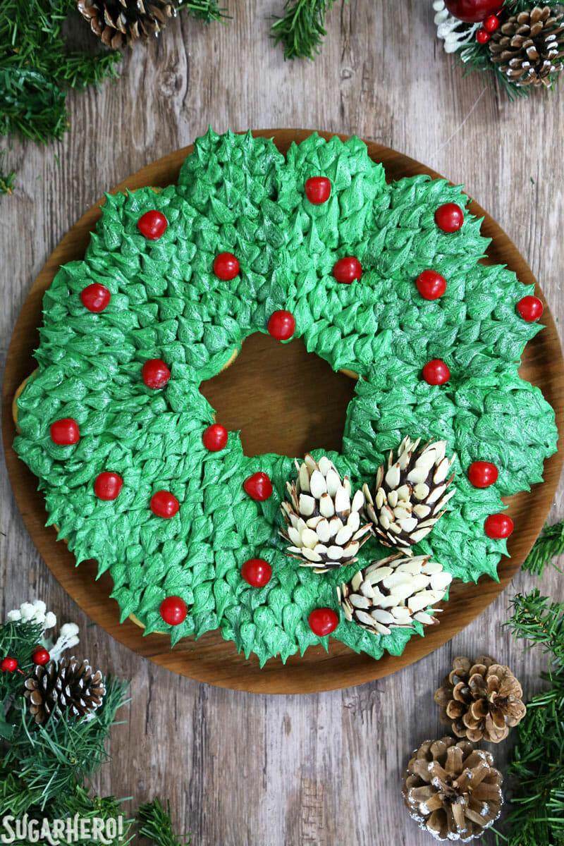 Pull-Apart Cupcake Wreath Cake - shot of full cupcake wreath from above | From SugarHero.com