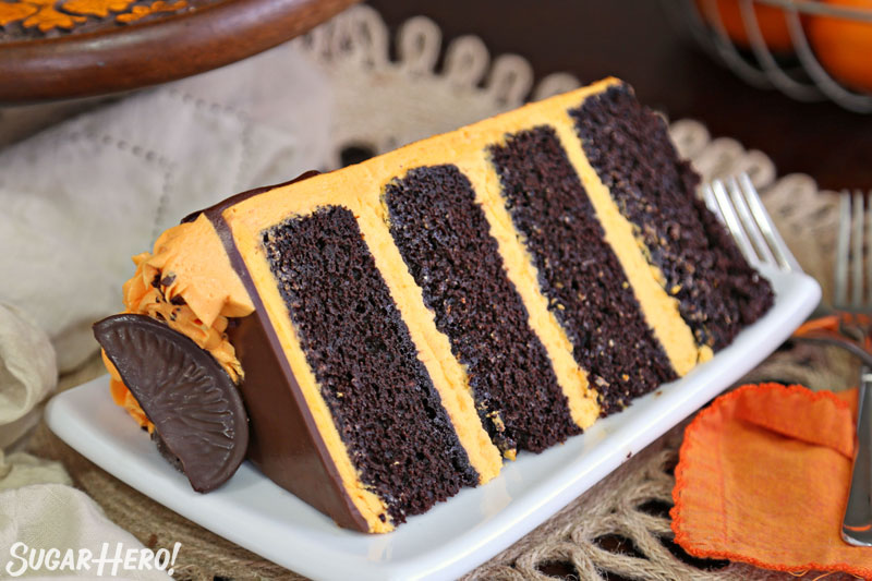 Chocolate Orange Cake - close-up of an individual cake slice | From SugarHero.com