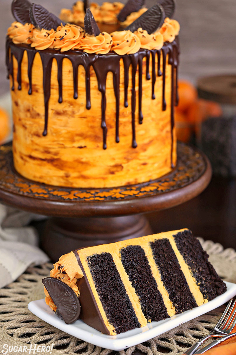 Chocolate Orange Cake - picture of the chocolate cake with a slice taken out of it | From SugarHero.com
