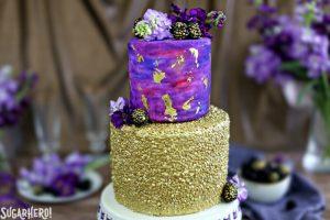 Gold Sequin Watercolor Cake | From SugarHero.com