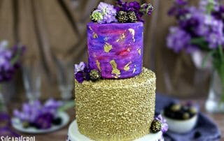 Gold Sequin Watercolor Cake | From SugarHero.com