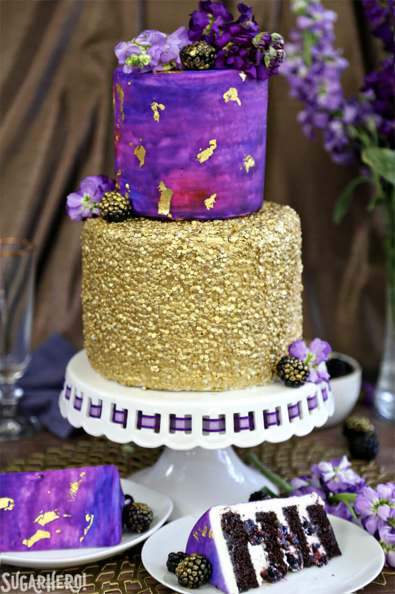 Gold Sequin Watercolor Cake - SugarHero