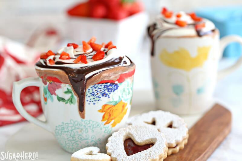 Strawberry Hot Chocolate | From SugarHero.com