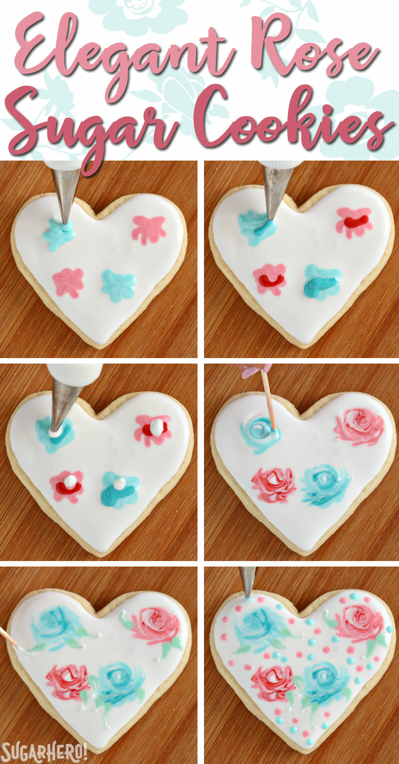 Valentine's Day Sugar Cookies - photo tutorial showing how to make an elegant rose design out of royal icing | From SugarHero.com