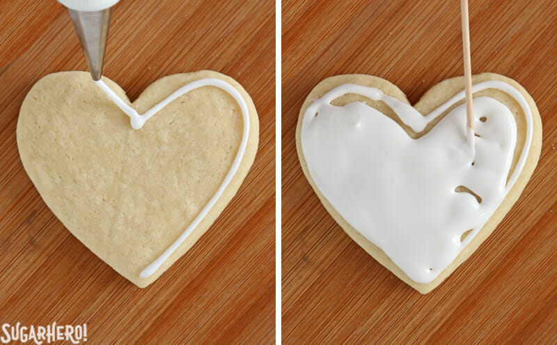 Valentine's Day Sugar Cookies - photo tutorial showing how to outline and flood sugar cookies with royal icing | From SugarHero.com