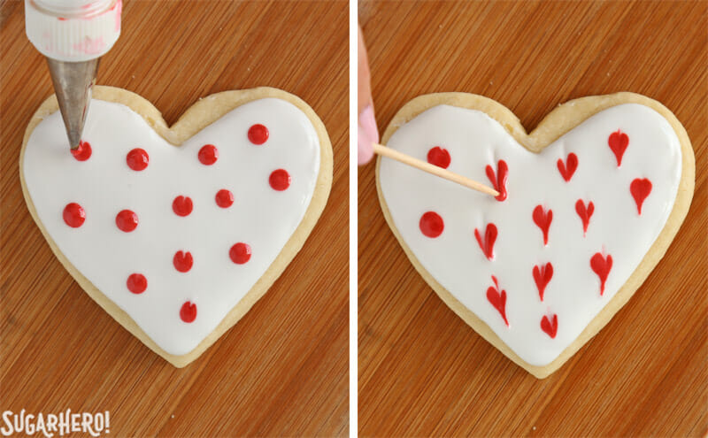 Valentine's Day Sugar Cookies - photo tutorial showing how to make a heart pattern out of royal icing | From SugarHero.com