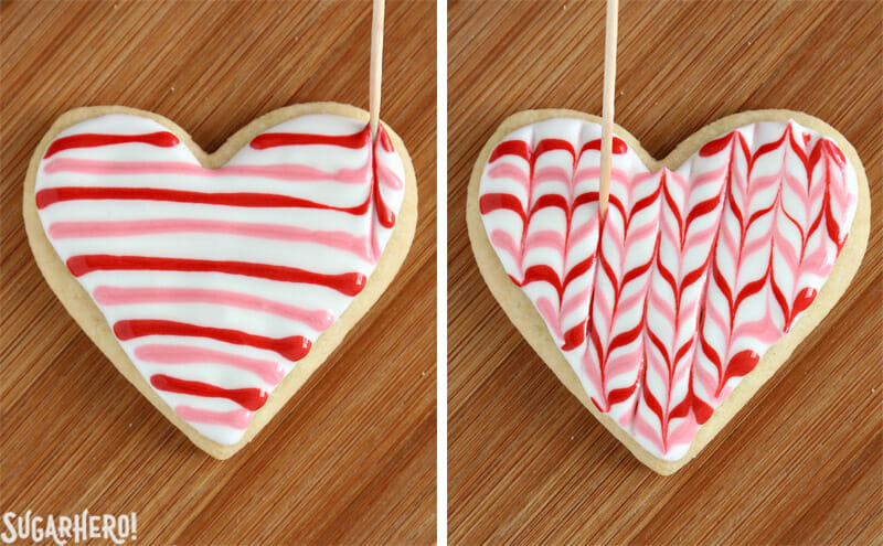 Valentine's Day Sugar Cookies - photo tutorial showing how to make a zig-zag pattern out of royal icing | From SugarHero.com