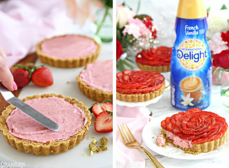 Strawberry Rose Tarts - picture of spreading the strawberry cream in the strawberry rose tarts | From SugarHero.com
