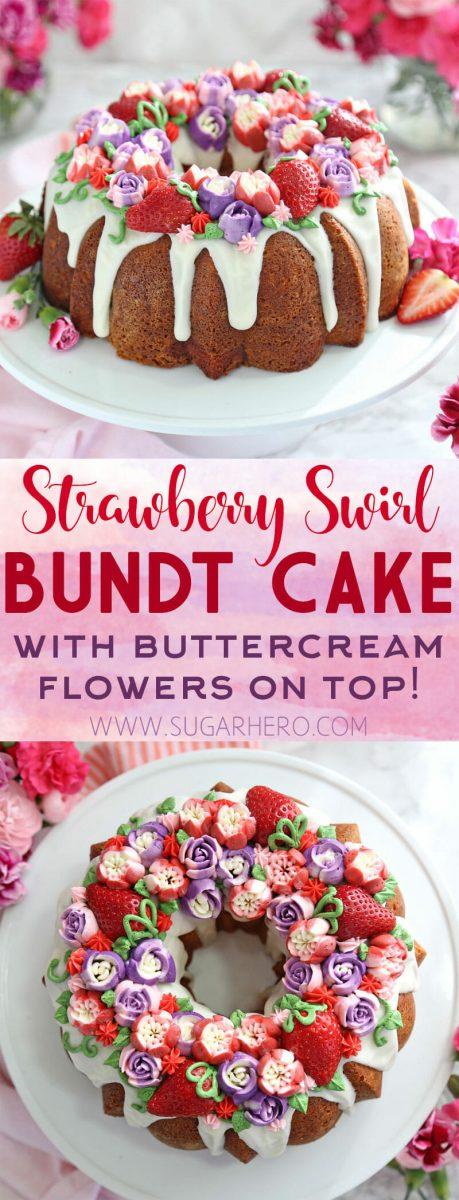Strawberry Swirl Bundt Cake | From SugarHero.com
