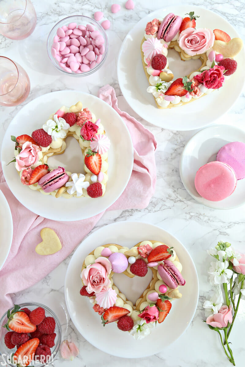 Trendy Cream Tarts - overhead shot of three heart-shaped cream biscuits | From SugarHero.com