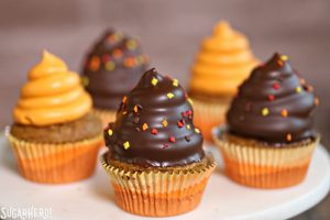 Pumpkin Spice Hi-Hat Cupcakes | From SugarHero.com