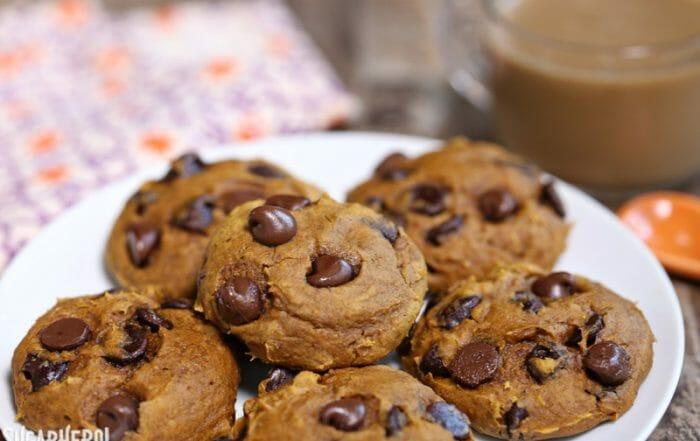 3-Ingredient Pumpkin Chocolate Chip Cookies | From SugarHero.com