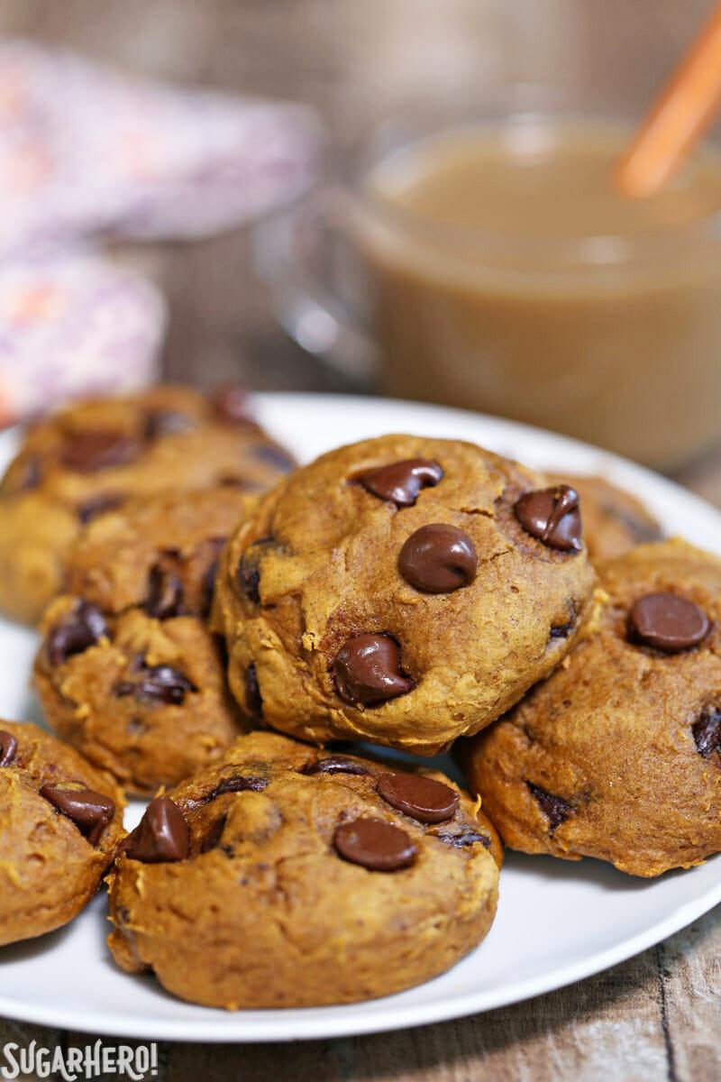 3-Ingredient Pumpkin Chocolate Chip Cookies - plate of pumpkin chocolate chip cookies | From SugarHero.com