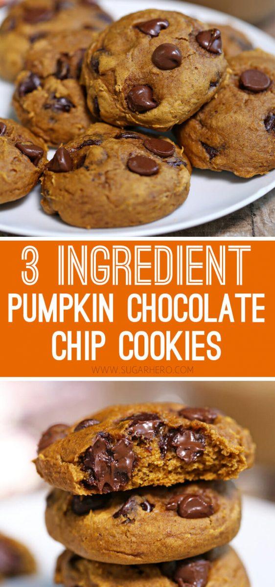 3-Ingredient Pumpkin Chocolate Chip Cookies   From SugarHero.com