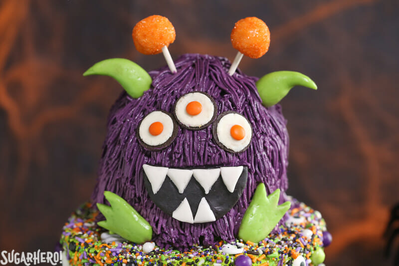 Monster Cake - close-up of the mini monster cake topper | From SugarHero.com