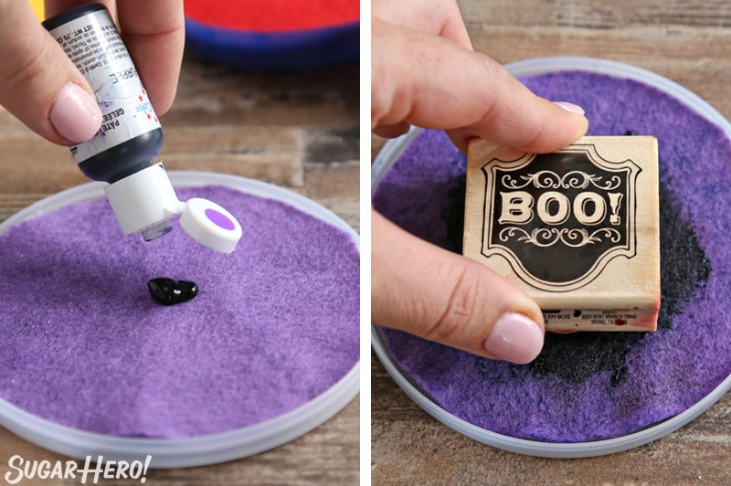 Stamped Halloween Cupcakes - making edible ink pads out of felt, and using food coloring to make edible stamps | From SugarHero.com