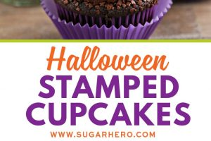 Stamped Halloween Cupcakes | From SugarHero.com