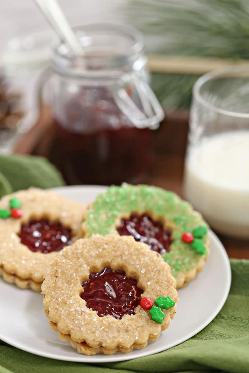 Linzer Cookie Wreaths | From SugarHero.com
