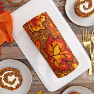 Patterned Pumpkin Roll | From SugarHero.com