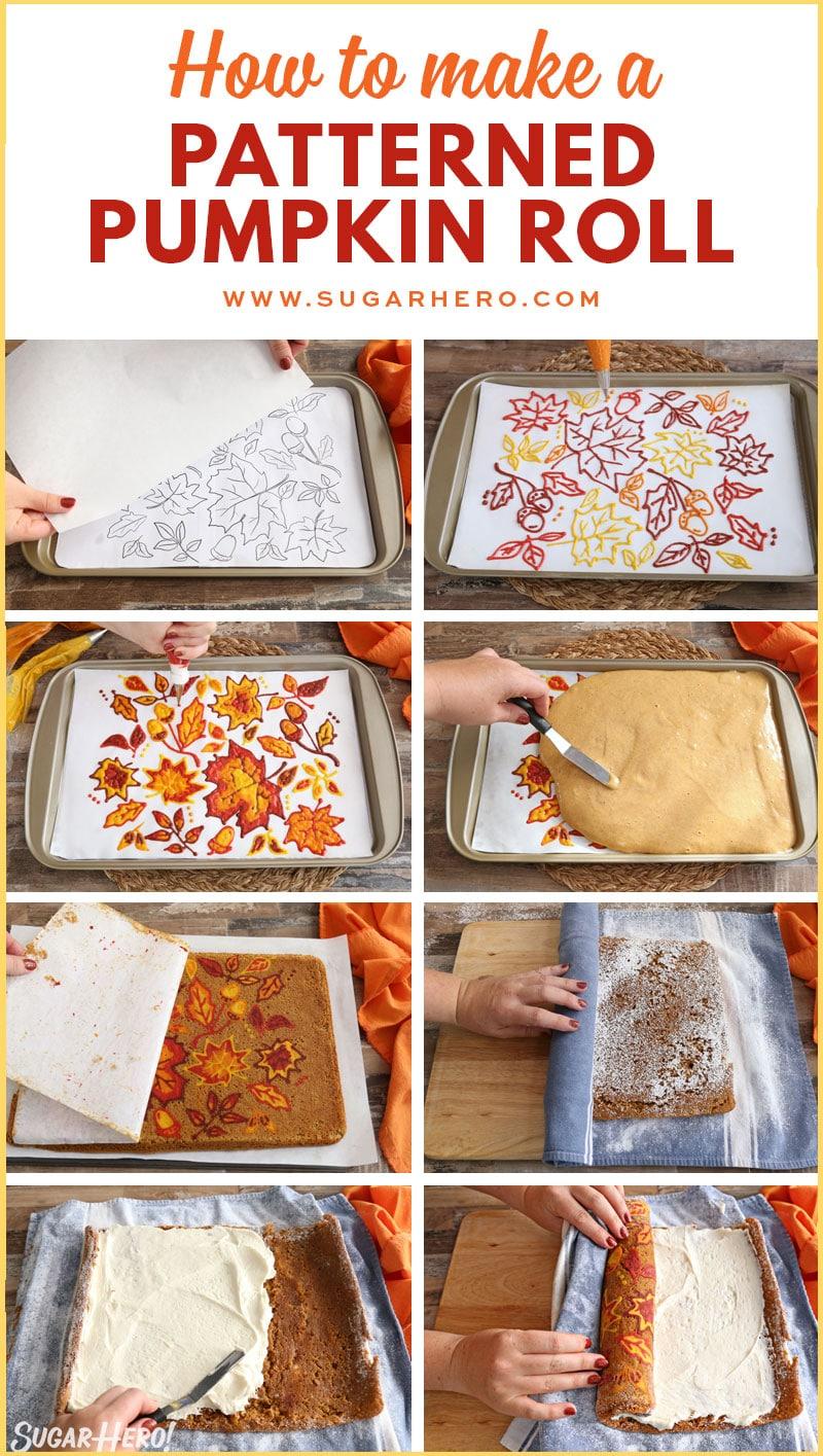 Patterned Pumpkin Roll - A step by step photo collage of how to make a patterned pumpkin roll. | From SugarHero.com