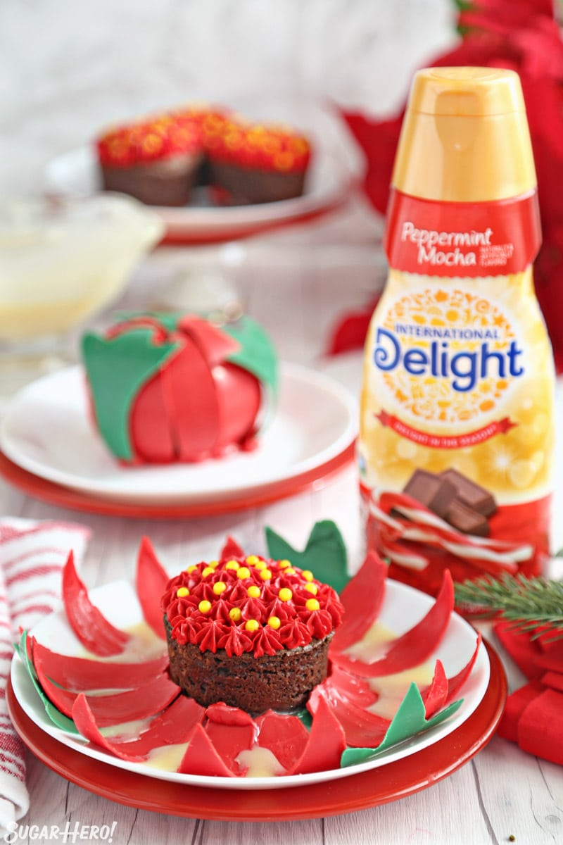 Blooming Chocolate Flowers - open chocolate flower next to a bottle of peppermint mocha coffee creamer   From SugarHero.com