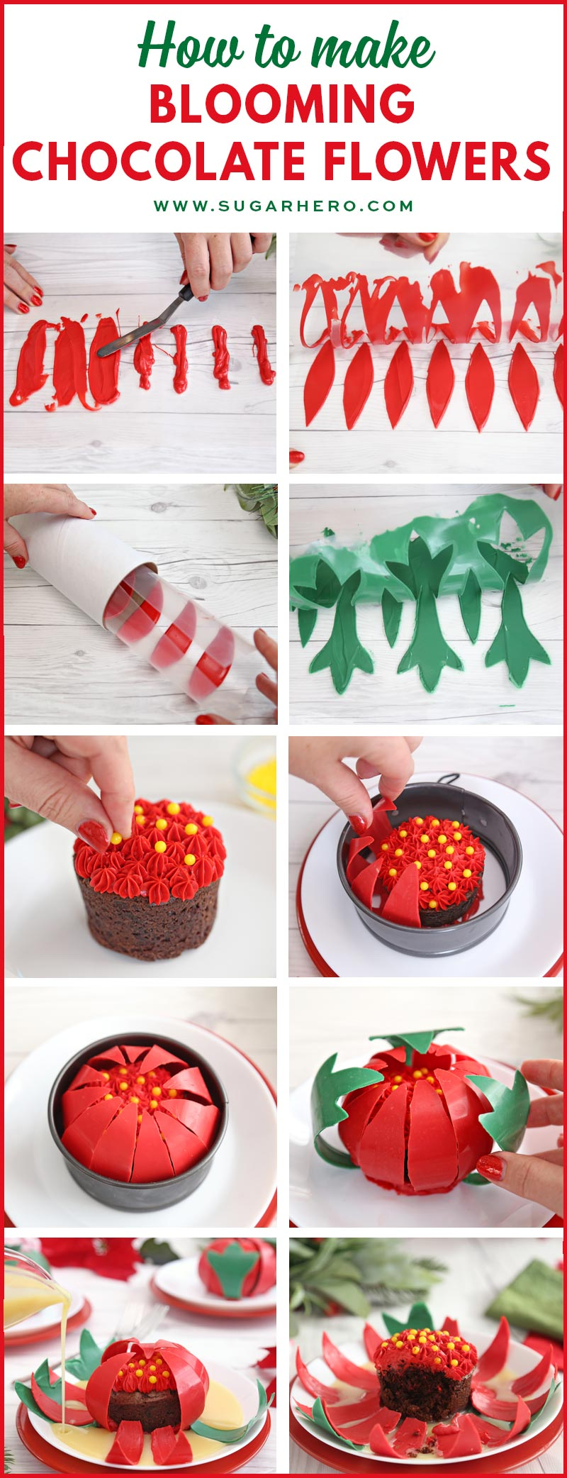 Blooming Chocolate Flowers - photo collage showing step-by-step photos for making a blooming chocolate flower | From SugarHero.com